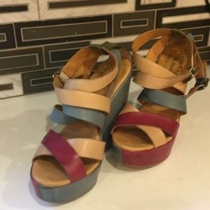 Kork-Ease Shoes - Size 7 Kork-ease red/blue stappy sandals